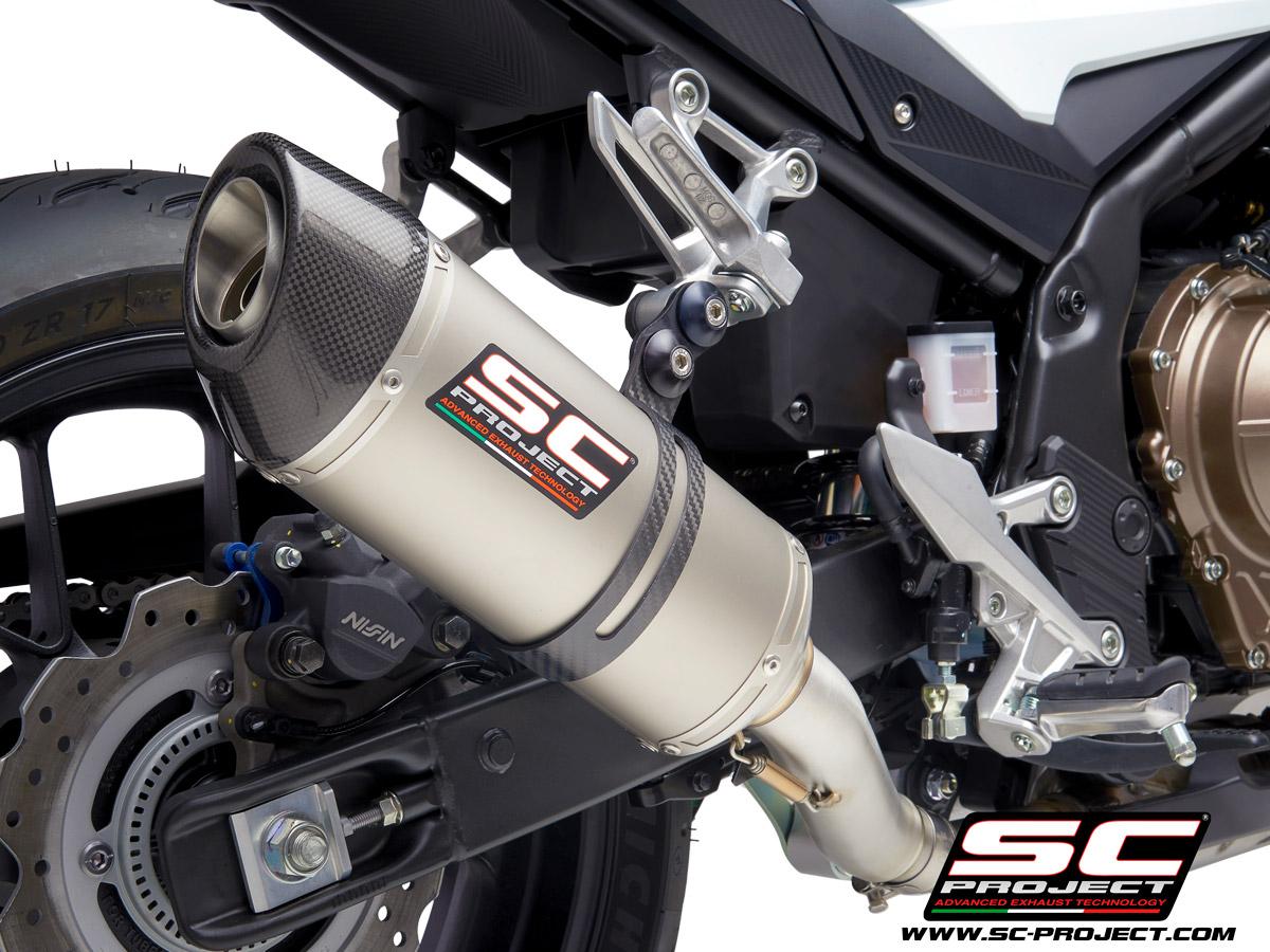HONDA CB500 (2021) - F - X - EURO 5 Oval Muffler, with carbon fiber end cap