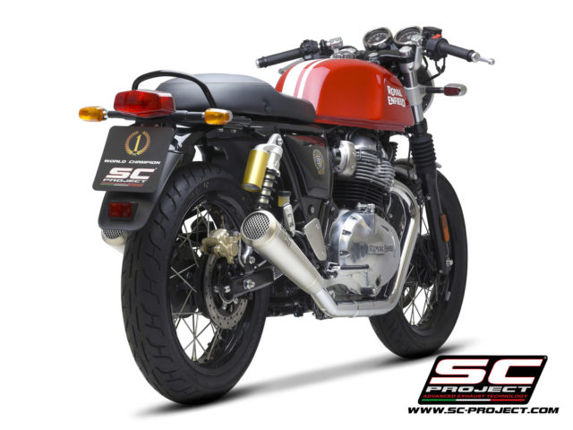 ROYAL ENFIELD INTERCEPTOR 650 (2019 - 2021) Pair of Conico 70s Mufflers, brushed stainless steel, with mesh on output