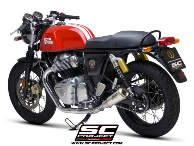 ROYAL ENFIELD CONTINENTAL GT 650 (2019 - 2021) Pair of S1-GP Mufflers, brushed stainless steel