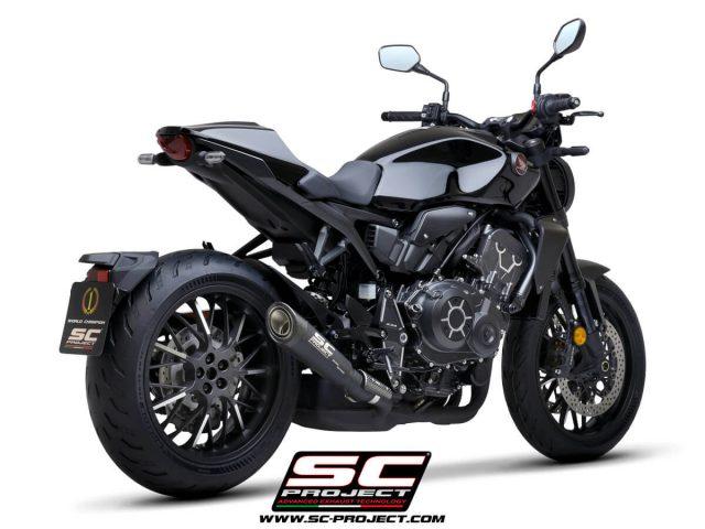 HONDA CB1000R (2021) S1 Muffler, Titanium, matt black painted, with Carbon fiber end cap