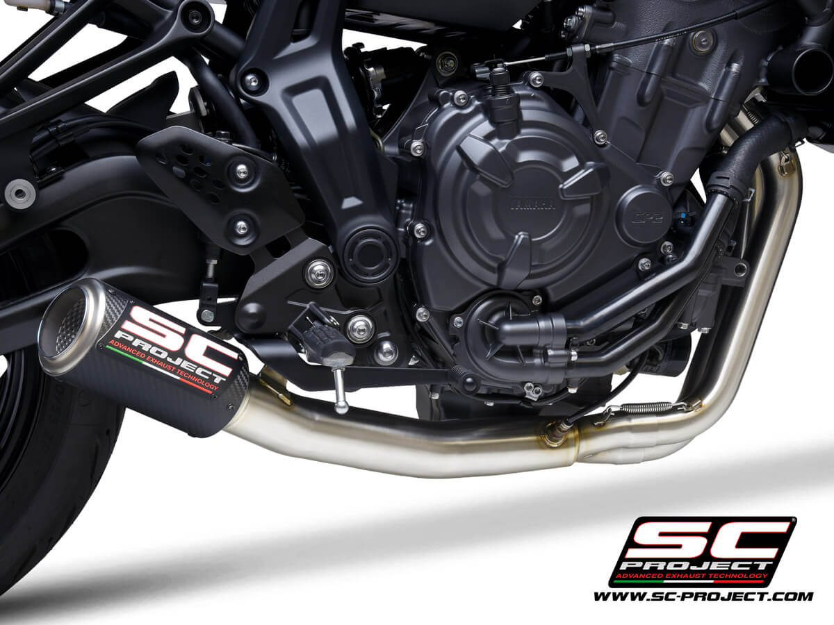 YAMAHA MT-07 (2021) Full 2-1 stainless steel exhaust system, with CR-T carbon muffler - RACING