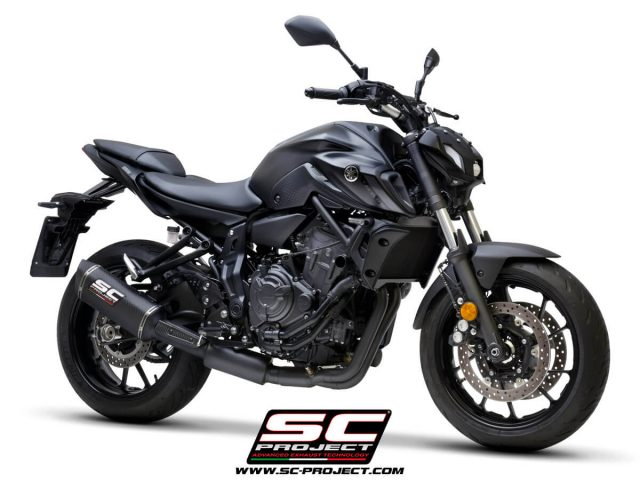 YAMAHA MT-07 (2021) Full 2-1 stainless steel exhaust system, matte black painted, with SC1-S carbon muffler - EURO 5