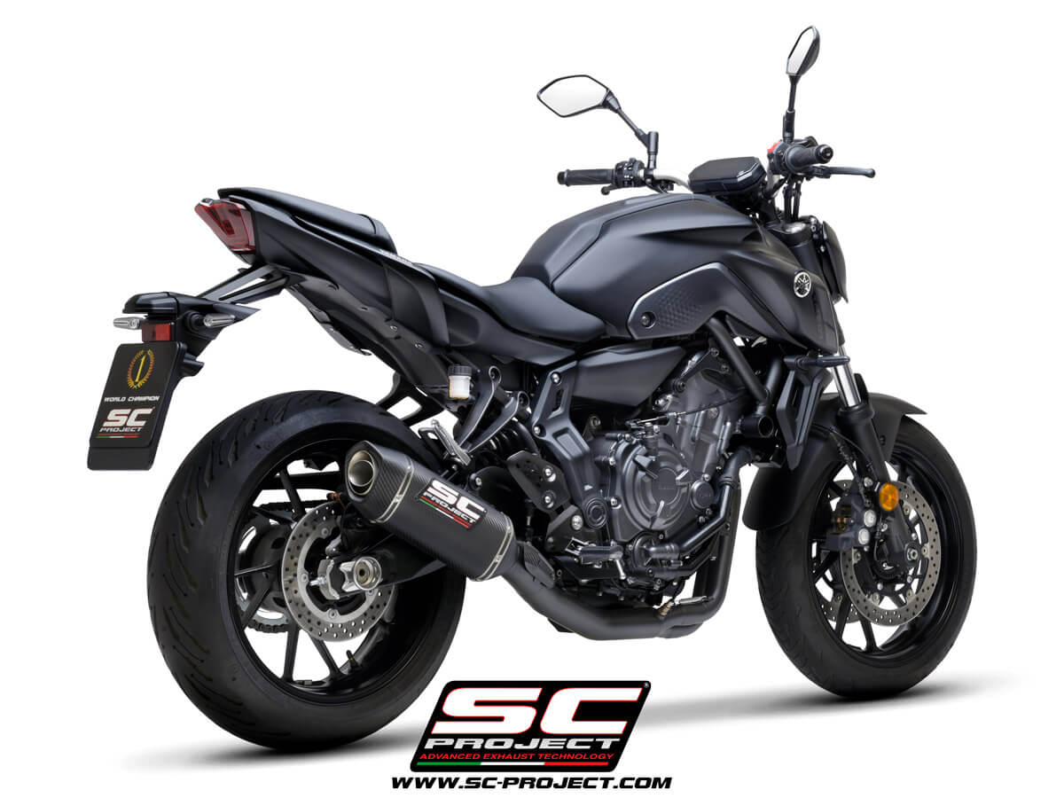 YAMAHA MT-07 (2021) Full 2-1 stainless steel exhaust system, matte black painted, with SC1-S carbon muffler - RACING