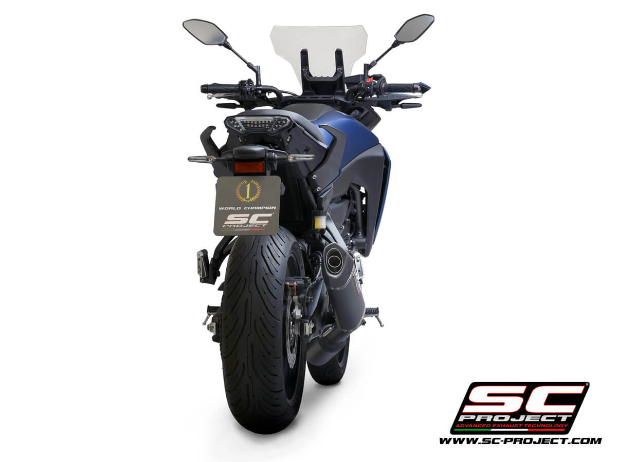 YAMAHA TRACER 700 (2020) - TRACER 7 (2021) - GT - EURO 5 Full 2-1 stainless steel exhaust system, matte black painted, with SC1-S carbon muffler - EURO 5