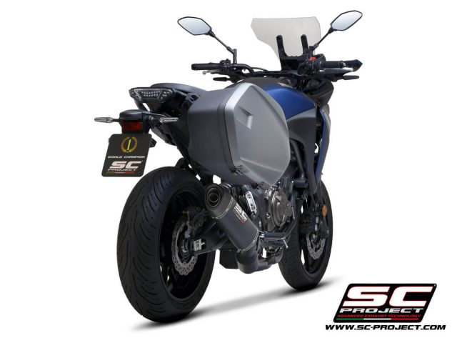 AMAHA TRACER 700 (2020) - TRACER 7 (2021) - GT - EURO 5 Full 2-1 stainless steel exhaust system, matte black painted, with SC1-S carbon muffler - RACING